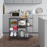 Prep & Savour Kitchen Baker's Rack Microwave Oven Stand Workstation Shelf Storage Baskets in Black, Size 29.5 H x 31.5 W x 13.0 D in | Wayfair