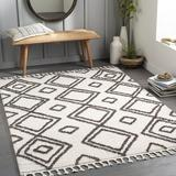 Foundry Select Gamal Moroccan White/Area Rug Polyester in Black, Size 94.0 W x 0.79 D in | Wayfair 44735AA8597941ACABA567FAC4A5C209