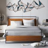 17 Stories Full Size Metal & Wood Platform Bed w/ Headboard & Footboard, No Box Spring Needed, Wood Slat Support Wood/Wood & Metal/Metal | Wayfair