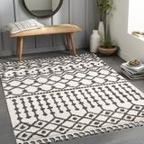 Foundry Select Gamal Moroccan Cream/Charcoal Area Rug Polyester in White, Size 79.0 W x 0.79 D in | Wayfair 7D33D869A60A48DD9A0BECA744ABE8D1