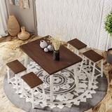 Red Barrel Studio® Othniel 4 - Person Solid Wood Dining Table Wood in Brown/White, Size 30.0 H in   Wayfair CB02937E3CF9403897C47B61A392FA43