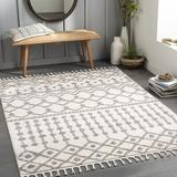 Foundry Select Gamal Moroccan Cream/Charcoal Area Rug Polyester in White, Size 94.0 W x 0.79 D in | Wayfair CAD7B9F9483444FF9505B9A873001480