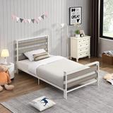 Latitude Run® Twin Low Profile Platform Bed Metal in Gray, Size 39.4 H x 39.4 W x 75.2 D in | Wayfair 1A82020603C14BDB80830B4F6A117B92