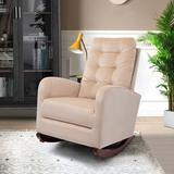 Gemma Violet Pink Upholstered Rocking Chair,Comfortable Living Room Rocker Lounge Armchair,With Solid Wood Base Wood/Upholstered/Velvet/Solid Wood