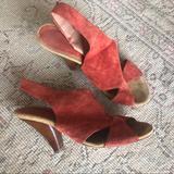Anthropologie Shoes | Anthropologie Suede Stack Heel Sandals Size 39 | Color: Orange/Red | Size: 9