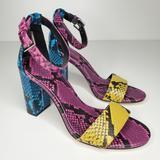 Nine West Shoes | Nine West Abrah Ankle Strap Sandal Heel Snake 7.5 | Color: Black/Blue | Size: 7.5