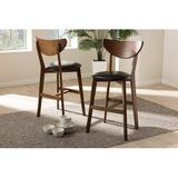 Corrigan Studio® Esmee Mid-Century Modern Black Faux Leather Upholstered Walnut Finished Counter Stool Set Of 2 Wood/Leather/Faux leather in Brown