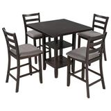 Red Barrel Studio® 5-Piece Wooden Counter Height Dining Set, Square Dining Table w/ 2-Tier Storage Shelving & 4 Padded Chairs Wood/Metal   Wayfair