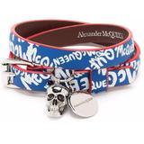 Logo Band Bracelet Blue/white - Blue - Alexander McQueen Bracelets