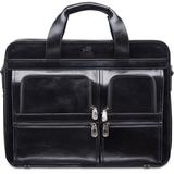 Signature Collection Top Zippered Double Compartment Laptop And Tablet Briefcase - Black - Mancini Briefcases