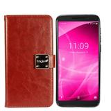 Faux Leather Mobile Phone Wallet Case with detachable magnetic slim case, Brown For REVVL 2