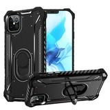 Shock Proof Metal Jacket Protection Mobile Phone Case with 360 Ring Stand, Black For iPhone 12 Pro