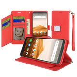 Magnetic Metal Snap Two Row Credit Card Holder Mobile Phone Wallet Case with Wristlet, Red For Apprise