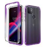 Gradient Fading Transparent Shockproof Hybrid Phone Case Cover, Purple/Clear For T-Mobile REVVL 4 Plus
