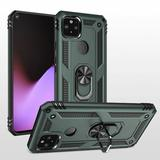 Rubberized Hybrid Shock Absorption Protective Phone Case With Rotatable Ring Stand, Green/Black For Pixel 5