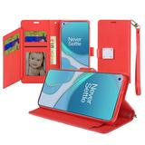 Magnetic Metal Snap Two Row Credit Card Holder Mobile Phone Wallet Case with Wristlet, Red For OnePlus 8T