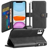 Faux Leather Mobile Phone Wallet Case with Card Slots and Strap, Black For iPhone 11