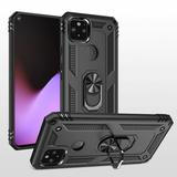 Rubberized Hybrid Shock Absorption Protective Phone Case With Rotatable Ring Stand, Gray/Black For Pixel 5