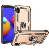 Rubberized Hybrid Shock Absorption Protective Phone Case With Rotatable Ring Stand, Gold/Black For Galaxy A01 Core