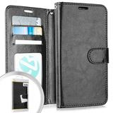 Apple iPhone 11 Pro Max Faux Leather Phone Wallet Case with Credit Card Slots only compatible with iPhone 11 Pro Max 6.5 inch screen size, Black For i