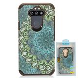 Blue Flower Design Slim Hybrid Rugged Case, Blue/Green For Fortune 3