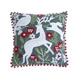 Levtex Home Throw Pillows Red - Green & Red Animals Crewel Pom-Pom Throw Pillow