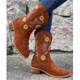 PAOTMBU Women's Western Boots BROWN - Brown Sunflower Cowboy Boot - Women