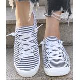 BUTITI Women's Sneakers BLACK - Black & White Faded Stripe Sneaker - Women