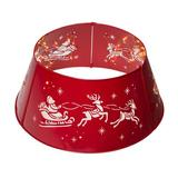 Glitzhome Metal Santa on Sleigh Tree Collar Metal in Red, Size 11.25 H x 26.0 W in | Wayfair GH30159