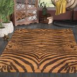 Safavieh Soho Animal Print Handmade Tufted Wool Area Rug Wool in Brown, Size 96.0 H x 60.0 W x 0.63 D in | Wayfair SOH434C-5