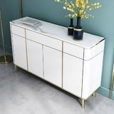 """Everly Quinn 59"""" Sideboard Buffet w/ Marble Top 4 Doors & 3 Drawers Gold Cabinet Buffet Table in White, Size 35.4 H x 59.1 W x 15.7 D in 