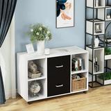 Wade Logan® Oaklynn 2 Drawer File Cabinet, Mobile Lateral Filing Cabinet, Modern Printer Stand w/ Storage Shelves & Wheels Wood in White   Wayfair
