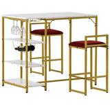 Mercer41 Counter Height 3-Piece Bar Dining Table Set w/ 2 Upholstered Bar Stools/Chairs in White/Yellow, Size 35.4 H in | Wayfair