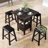 Red Barrel Studio® 5-Piece Wooden Dining Table & Chairs Set w/ Storage Cabinet & Shelves Wood in Brown, Size 36.0 H in   Wayfair