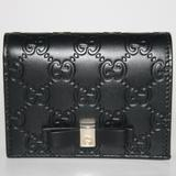 Gucci Bags   Gucci Gg Guccissima Bow Card Case Wallet   Color: Black/Gold   Size: Os