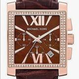Michael Kors Accessories | Michael Kors Rhinestone Luminous Chronograph Watch | Color: Brown/Gold | Size: Os