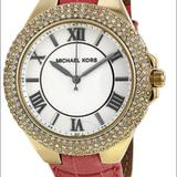 Michael Kors Accessories | Michael Kors Camille White Dial Pink Leather Watch | Color: Black/Gold/Pink/Tan/White | Size: Os