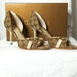 Gucci Shoes | Gucci Horsebit Canvas And Leather Peep Toe Sandals | Color: Cream/Tan | Size: 7.5