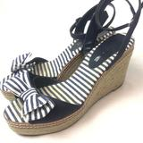 American Eagle Outfitters Shoes | Aeo Espadrilles Wedge Sandal Shoes Peep Toe Navy | Color: Blue/White | Size: 8.5