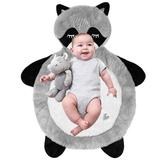Little Grape Land Baby Animal Mat Bear, Plush Newborn Tummy Time Play Mat, Ultra Soft And Cozy Stuffed Animal Floor Cushion For Toddler in Black