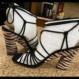 Jessica Simpson Shoes | New Jessica Simpson Strappy Zebra Sandals | Color: Black/Cream | Size: 7.5