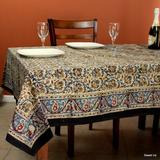 Sweet Us Kalamkari Cotton Paisley Floral Block Print Tablecloth Square 106 X 106 In Bedspread Queen Blue Red Cotton in Red/Blue   Wayfair