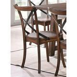 Rosalind Wheeler Side Chair (Set-2) In Dark Oak & Black Wood in Black/Brown, Size 35.0 H x 17.0 W x 21.0 D in | Wayfair