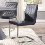 Orren Ellis Side Chair (Set-2) PU & Chrome Upholstered in Gray, Size 37.0 H x 17.0 W x 17.0 D in | Wayfair E3F56F13ED9F433E882E677D20695DF2