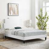 Latitude Run® Lindsey Platform Bed Wood & Upholstered/Upholstered/Velvet in White/Brown, Size 54.0 H x 79.0 W x 87.0 D in   Wayfair