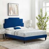 Latitude Run® Lindsey Platform Bed Wood & Upholstered/Upholstered/Velvet in Blue/Brown, Size 54.0 H x 63.5 W x 81.5 D in   Wayfair