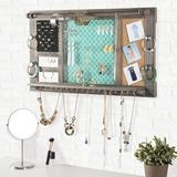 Latitude Run® Large Rustic Wall Mounted Jewelry Organizer: Shabby Elegance Jewelry Box Alternative Hanging Jewelry Organizer For Earings Necklaces Bracelets Accesso Wood