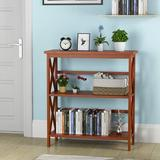 Breakwater Bay 3-tier Bookshelf Wooden Open Storage Bookcase For Home Office Black Wood in Brown, Size 34.0 H x 30.0 W x 12.5 D in | Wayfair