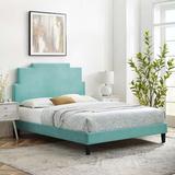 Latitude Run® Lindsey Platform Bed Wood & Upholstered/Upholstered/Velvet in Green/Brown, Size 54.0 H x 79.0 W x 87.0 D in   Wayfair