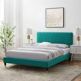 Latitude Run® Phillipa Platform Bed Wood & Upholstered/Upholstered/Velvet in Blue, Size 42.5 H x 80.0 W x 87.0 D in   Wayfair